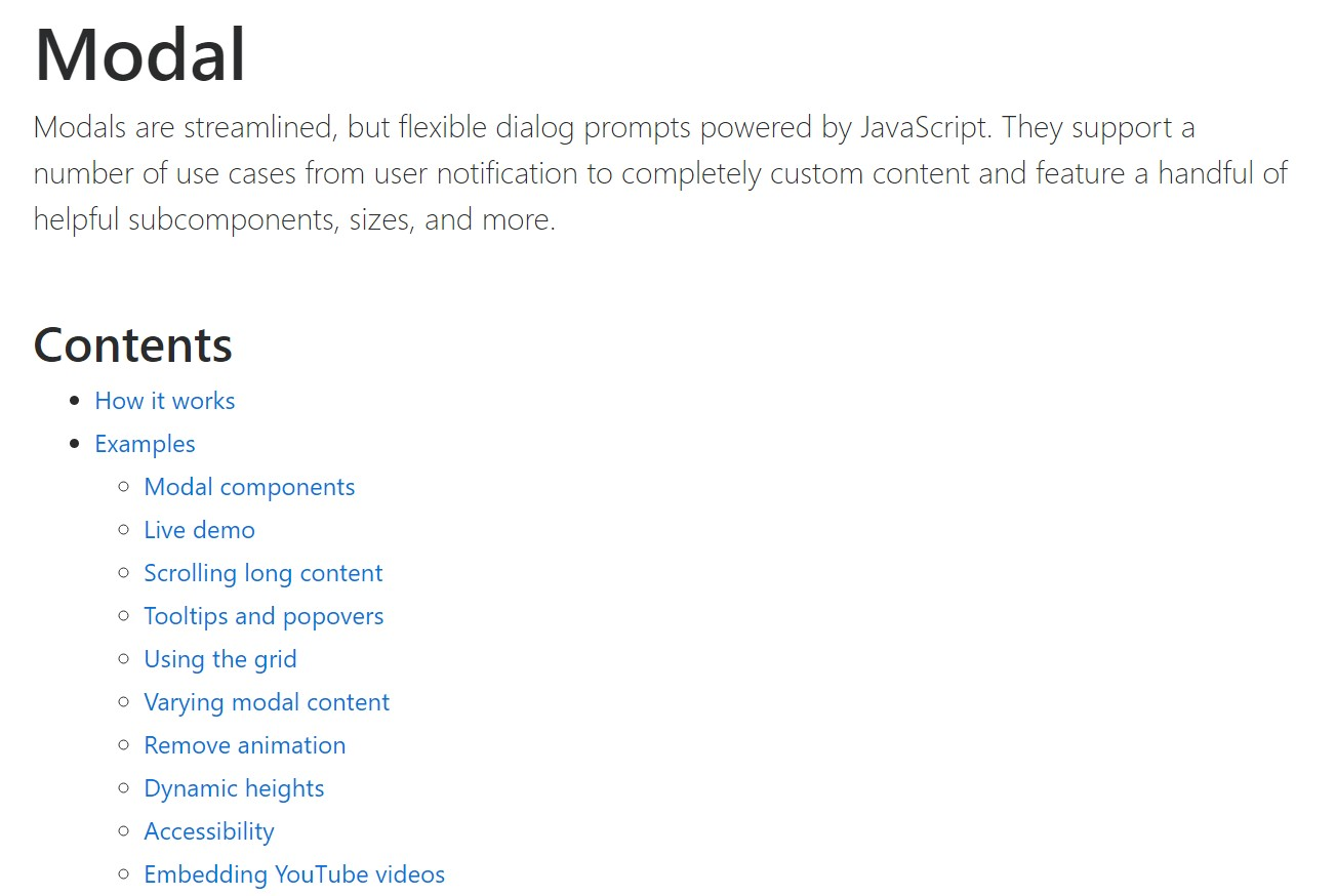 Bootstrap Modal Popup:  main  documents