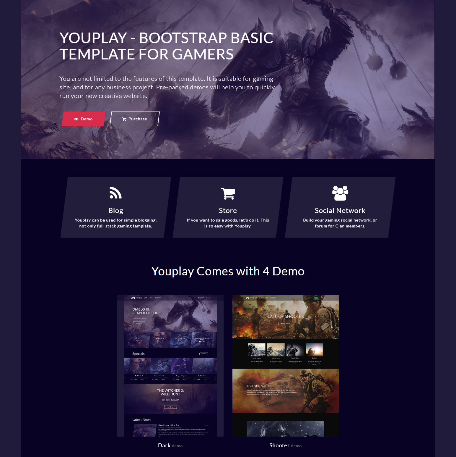 Responsive Bootstrap YouPlay Templates