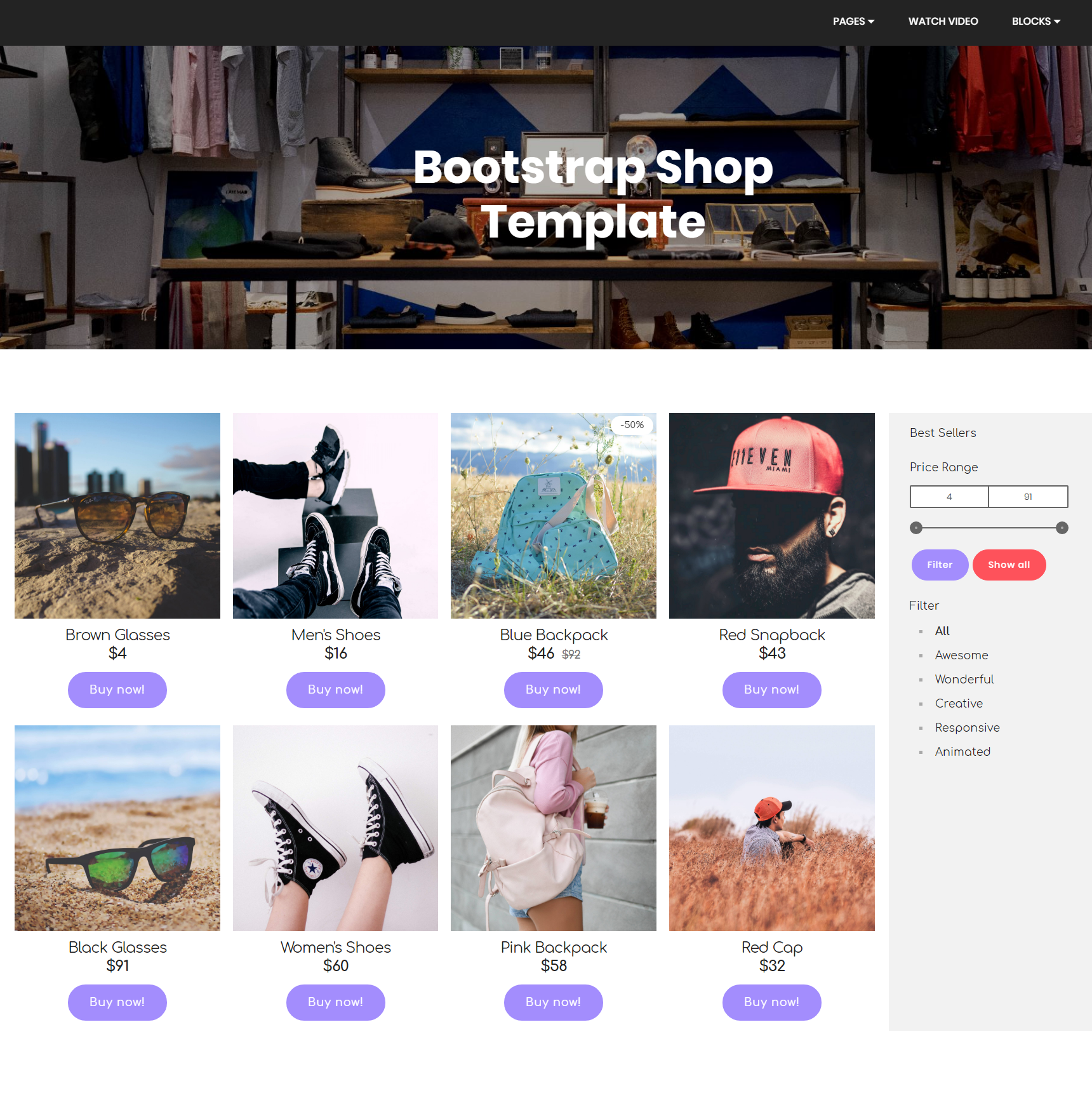 Free Download Bootstrap Shop Themes