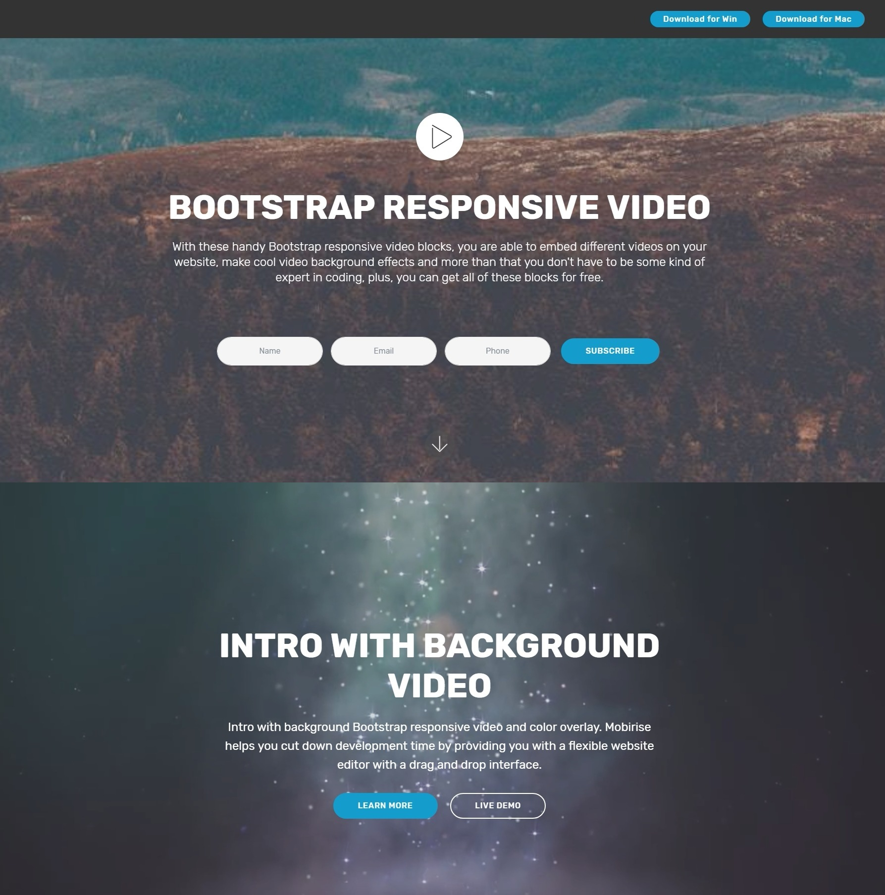 Professional HTML Bootstrap Modal Video Backgrounds and Accordion ...