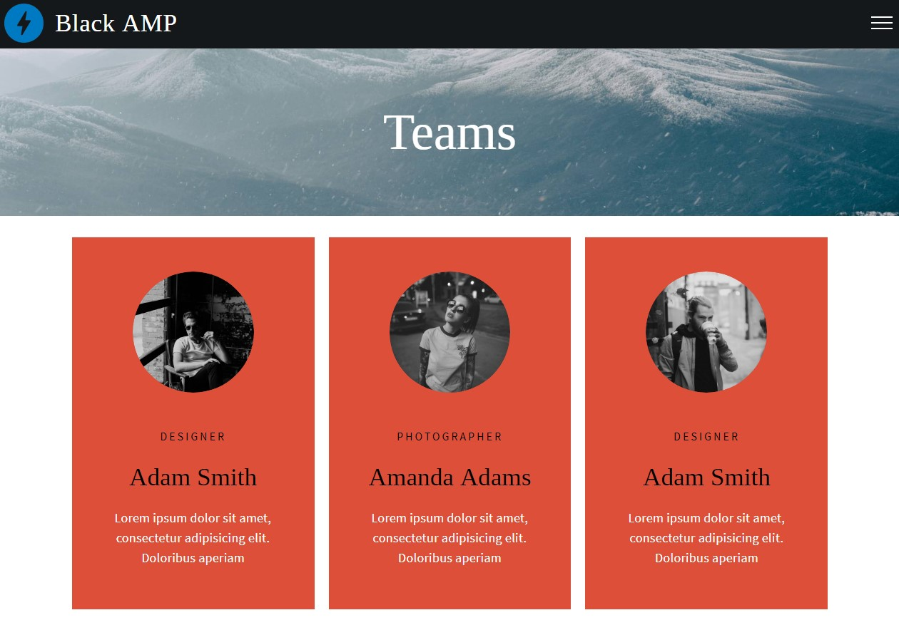 Latest AMP HTML Teams Template