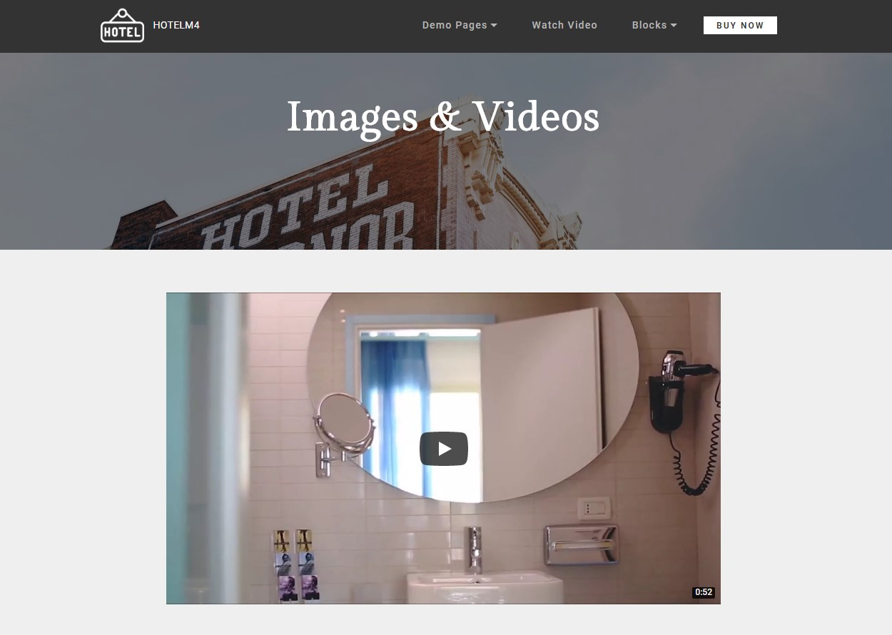 Images and Videos Theme for Hotel Website