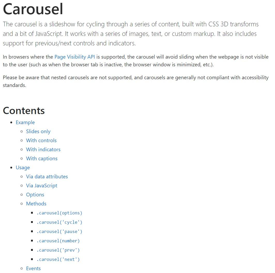 Bootstrap carousel  authoritative documentation