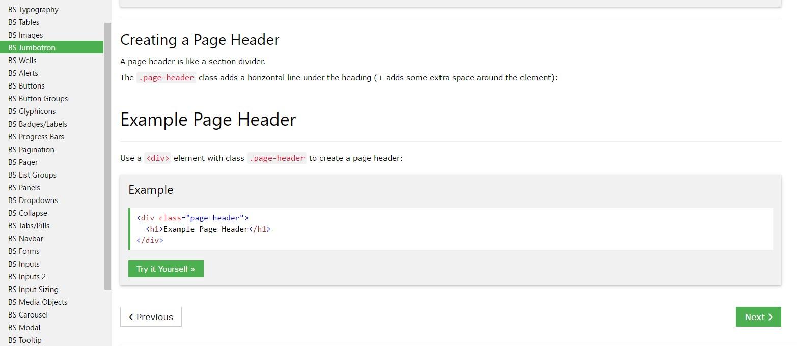 Bootstrap Header  guide