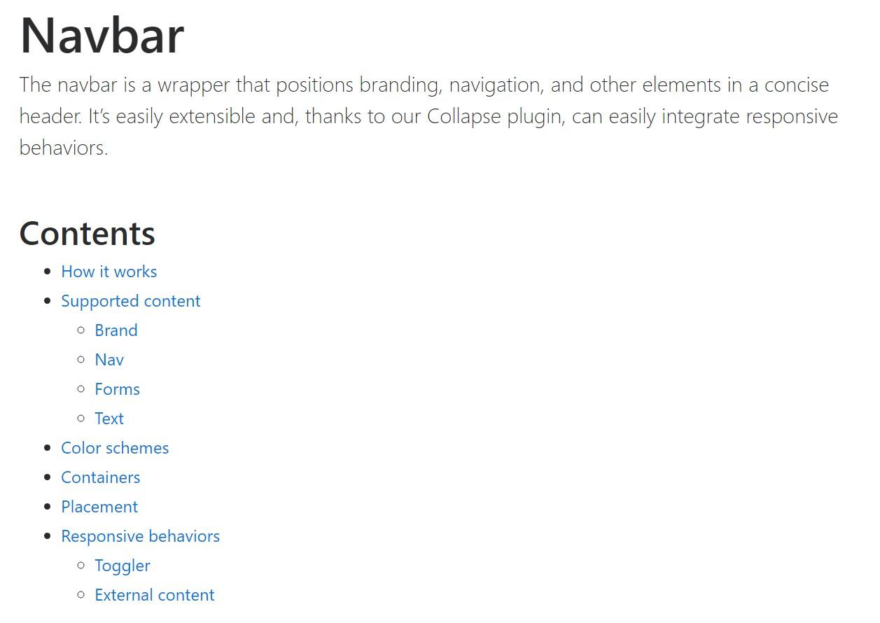 Bootstrap Navbar  authoritative documentation