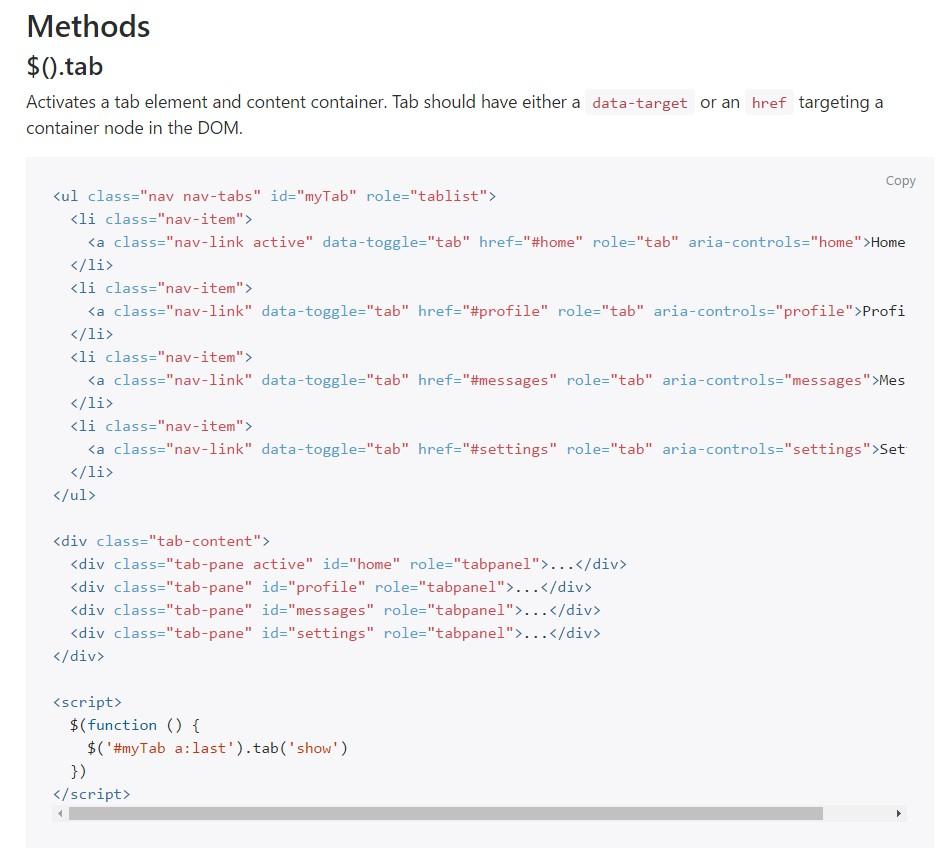 Bootstrap Nav-tabs: formal documentation
