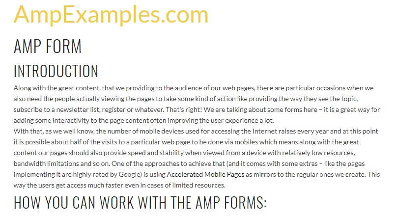 Let us  inspect AMP project and AMP-form  feature?