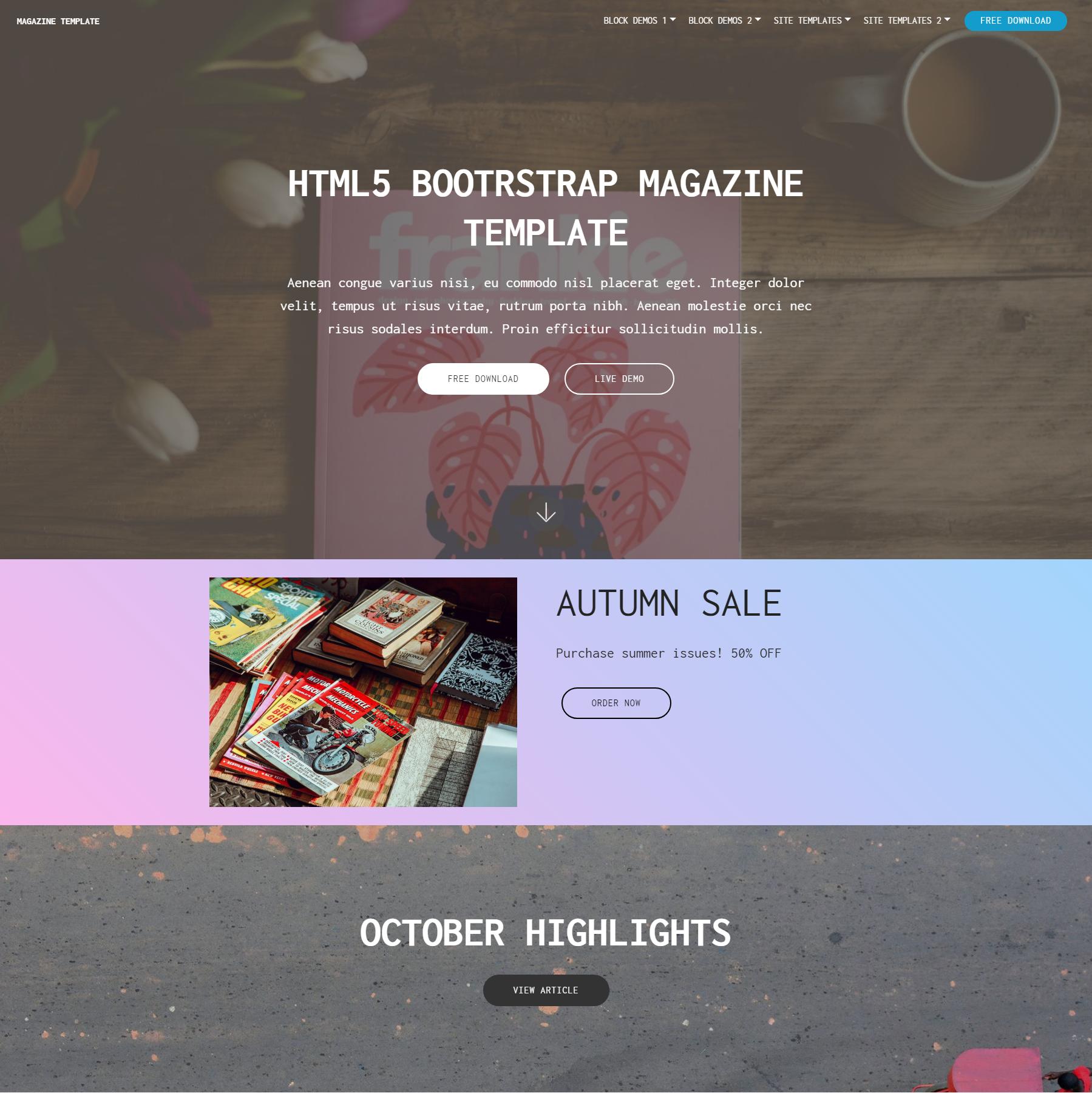 Free Bootstrap Magazine Templates