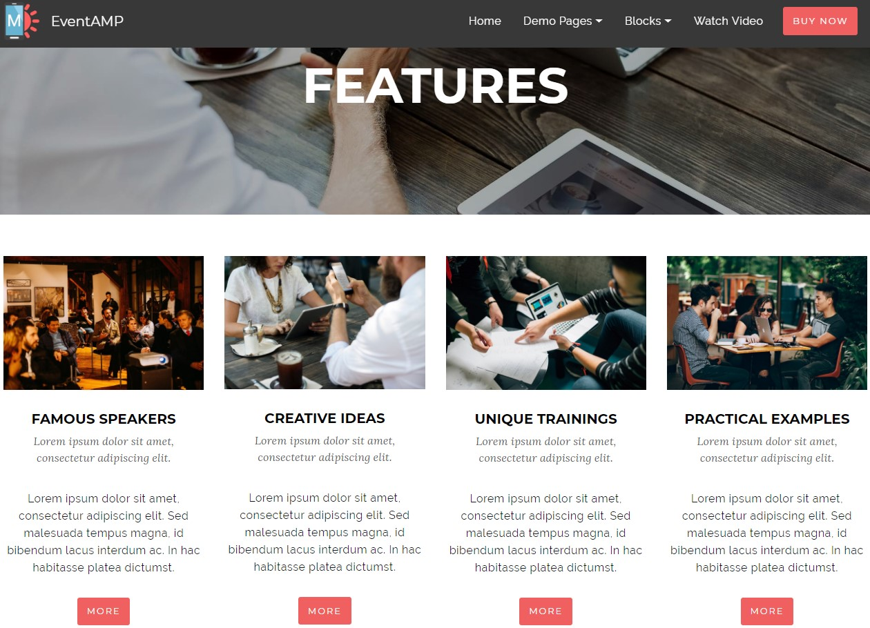 EventAMP HTML Features Templates