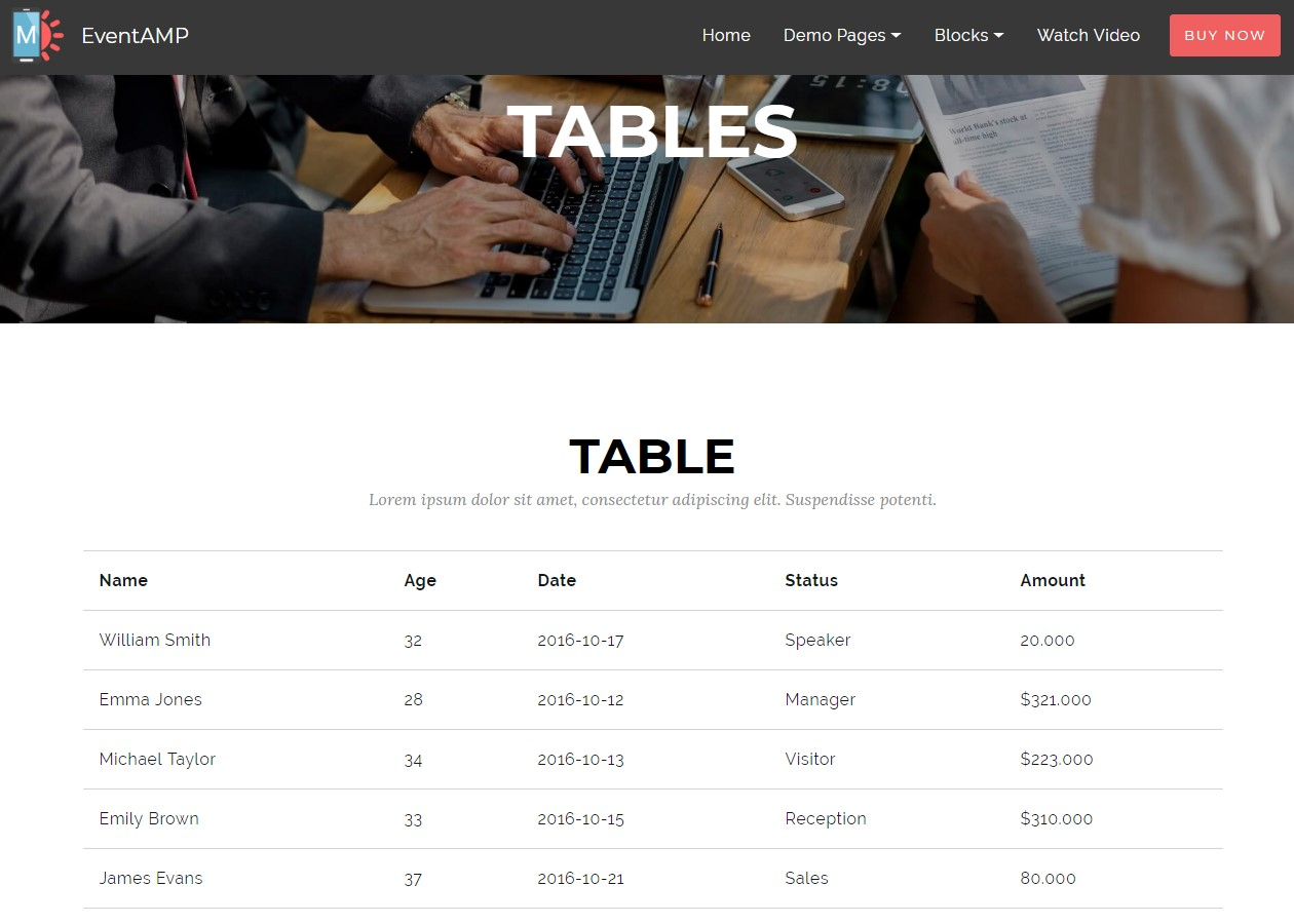 EventAMP HTML Tables Templates