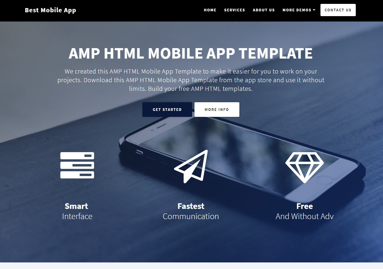 New Startup AMP HTML Mobile App Template