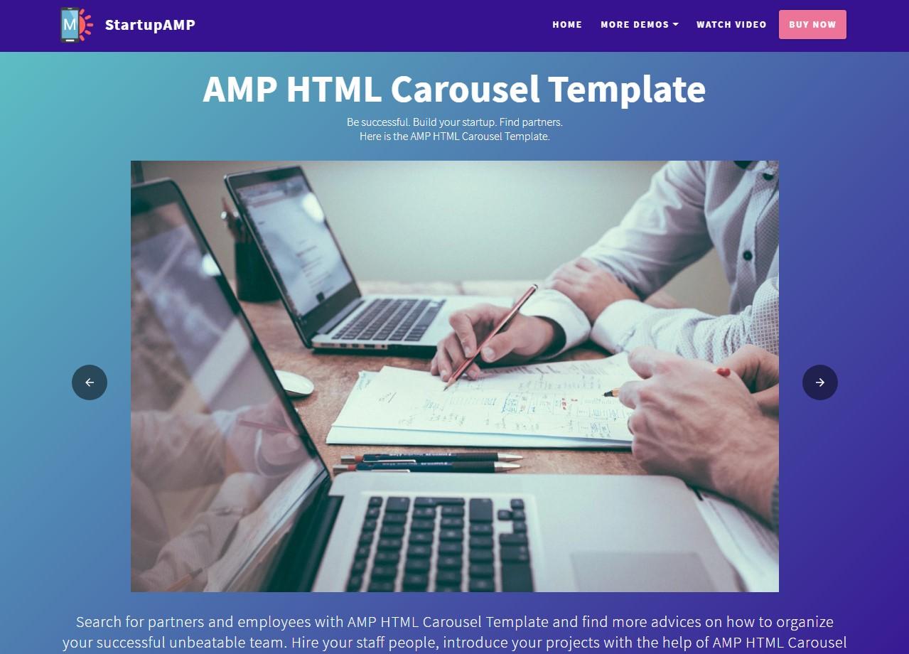 Startup AMP HTML Sliders